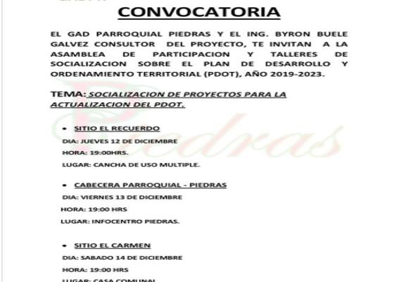 SOCIALIZACIÓN DE PROYECTOS PARA LA ACTUALIZACIÓN DEL PDOT